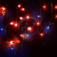 """Гирлянда Айсикл (бахрома) светодиодный, 4,0 х 0,6 м, с эффектом мерцания, черный провод """"КАУЧУК"""", 230 В, диоды красные, 128 LED NEON-NIGHT"""