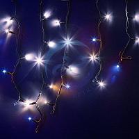 """Гирлянда Айсикл (бахрома) светодиодный, 4,0 х 0,6 м, с эффектом мерцания, черный провод """"КАУЧУК"""", 230 В, диоды"""