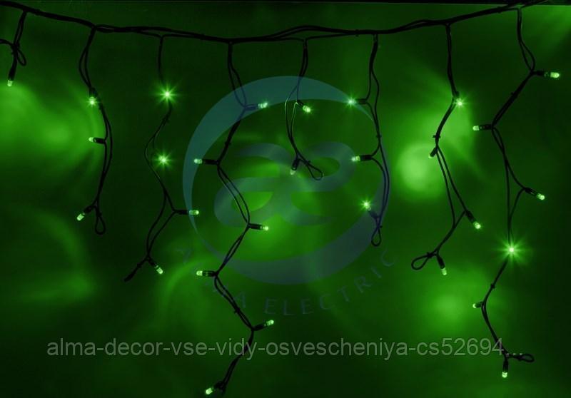 """Гирлянда Айсикл (бахрома) светодиодный, 5,6 х 0,9 м, черный провод """"КАУЧУК"""", 230 В, диоды зеленые, 240 LED"""