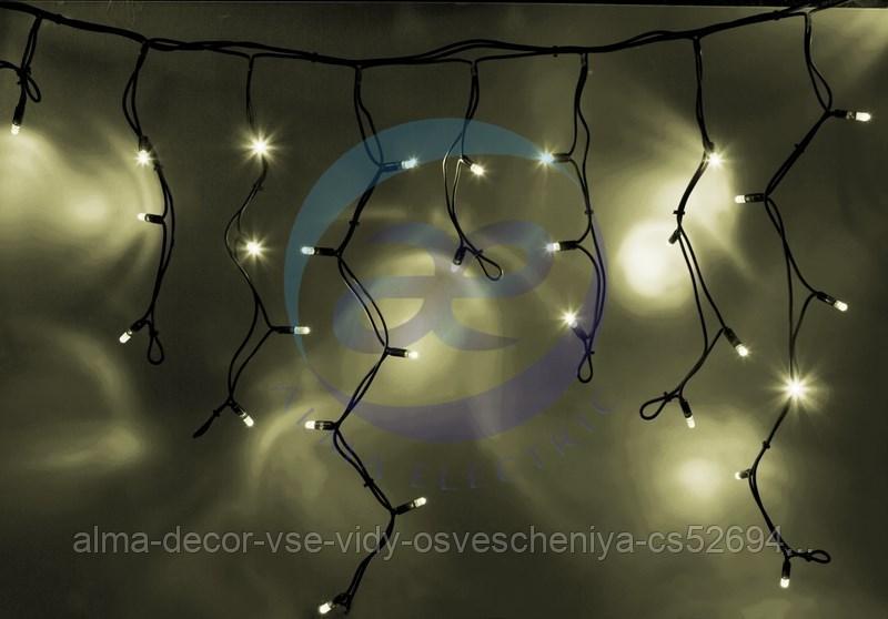 """Гирлянда Айсикл (бахрома) светодиодный, 5,6 х 0,9 м, с эффектом мерцания, черный провод """"КАУЧУК"""", 230 В, диоды ТЕПЛЫЙ БЕЛЫЙ, 240 LED NEON-NIGHT"""