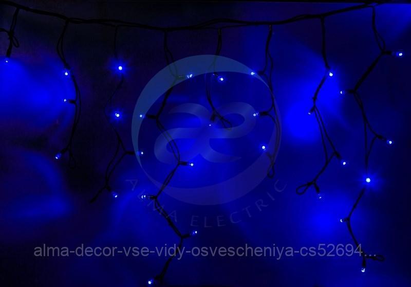"""Гирлянда Айсикл (бахрома) светодиодный, 5,6 х 0,9 м, с эффектом мерцания, черный провод """"КАУЧУК"""", 230 В, диоды синие, 240 LED NEON-NIGHT"""