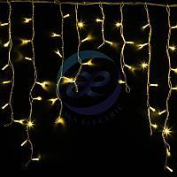 "Гирлянда Айсикл (бахрома) светодиодный, 5,6 х 0,9 м, белый провод ""КАУЧУК"", 230 В, диоды желтые, 240 LED NEON-NIGHT"