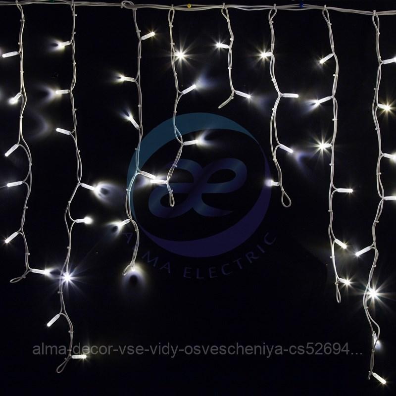 "Гирлянда Айсикл (бахрома) светодиодный, 5,6 х 0,9 м, белый провод ""КАУЧУК"", 230 В, диоды белые, 240 LED NEON-NIGHT"