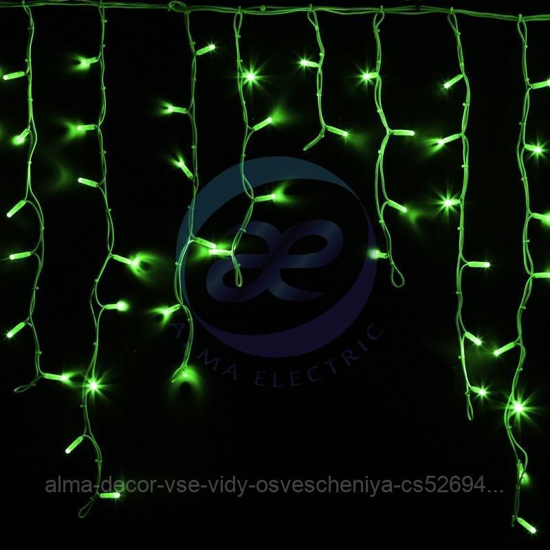 """Гирлянда Айсикл (бахрома) светодиодный, 5,6 х 0,9 м, белый провод """"КАУЧУК"""", 230 В, диоды зеленые, 240 LED"""