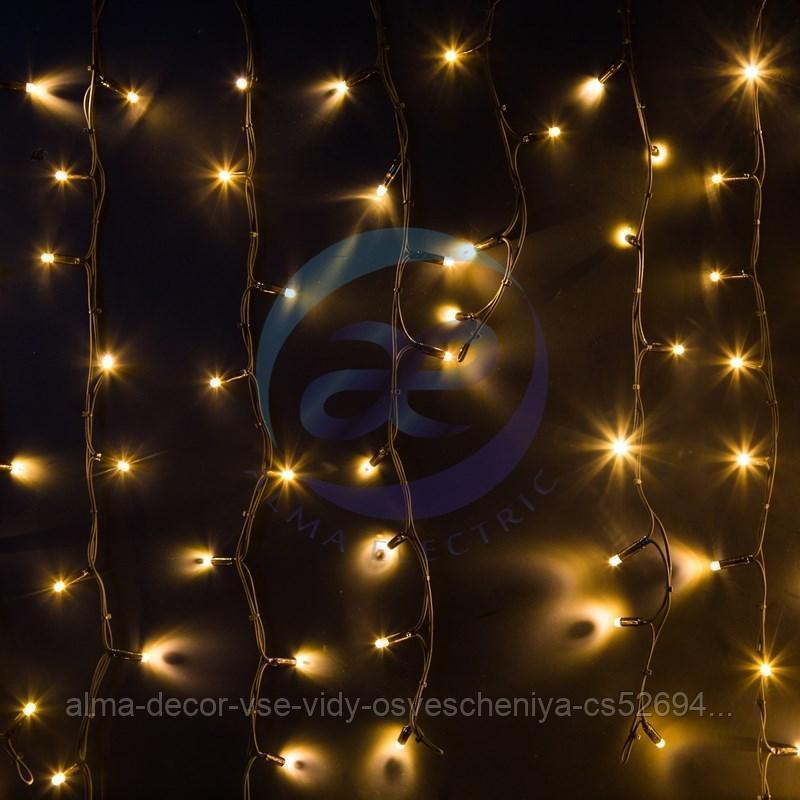 """Гирлянда Айсикл (бахрома) светодиодный, 6,0 х 1,5 м, черный провод """"КАУЧУК"""", 230 В, диоды ТЕПЛЫЙ БЕЛЫЙ, 480 LED NEON-NIGHT"""