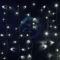 """Гирлянда Айсикл (бахрома) светодиодный, 6,0 х 1,5 м, черный провод """"КАУЧУК"""", 230 В, диоды белые, 240 LED"""