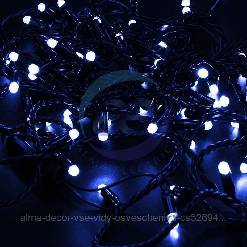 Гирлянда Нить 10м, постоянное свечение, черный ПВХ, 230В, цвет: Синий