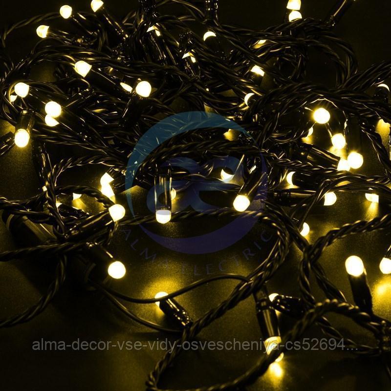 Гирлянда Нить 10м, постоянное свечение, черный ПВХ, 230В, цвет: Жёлтый