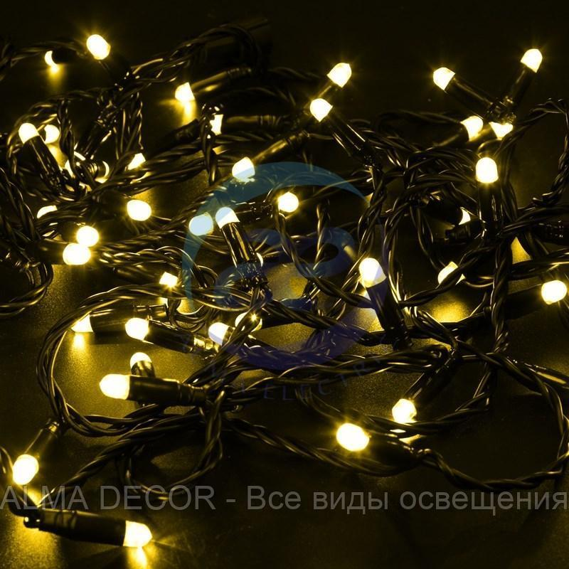Гирлянда Нить 10м, постоянное свечение, черный ПВХ, 24В, цвет: Жёлтый