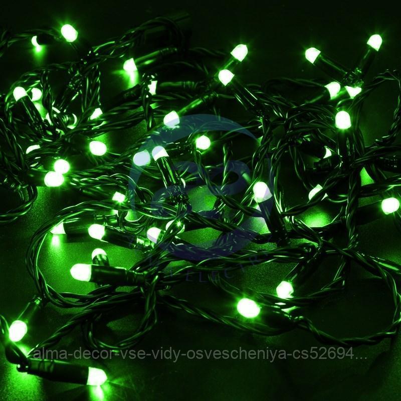 Гирлянда Нить 10м, с эффектом мерцания, черный ПВХ, 24В, цвет: Зелёный