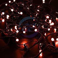 Гирлянда Нить 10м, постоянное свечение, черный ПВХ, 230В, цвет: Красный, фото 1
