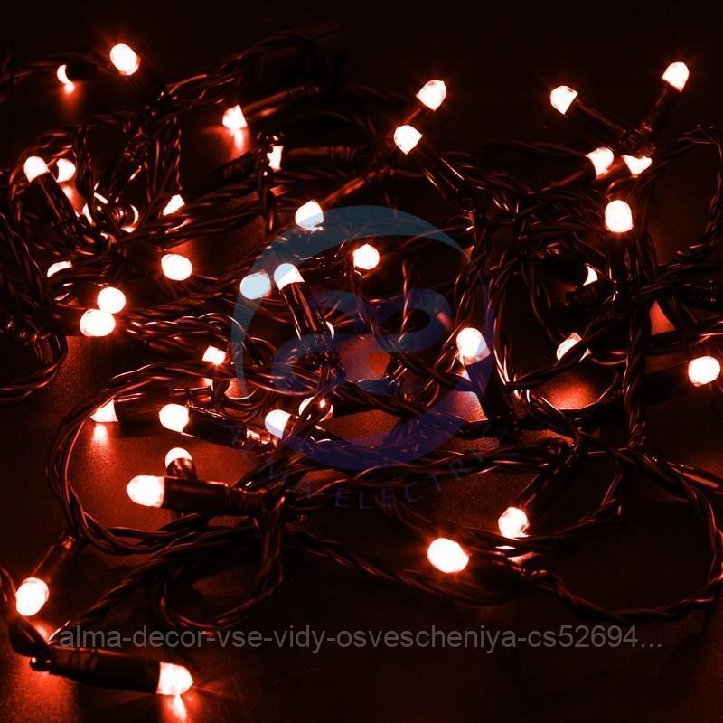 Гирлянда Нить 10м, постоянное свечение, черный ПВХ, 24В, цвет: Красный