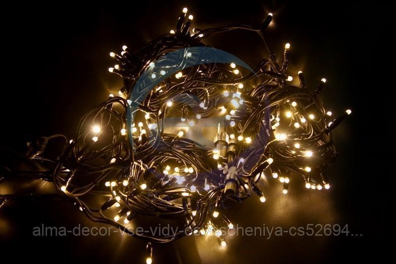 """Гирлянда модульная """"Дюраплей LED"""" 20м 200 LED черный каучук ТЕПЛЫЙ БЕЛЫЙ"""