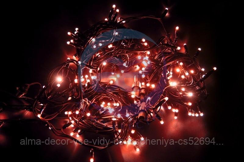 """Гирлянда модульная """"Дюраплей LED"""" 20м 200 LED черный каучук Красная"""