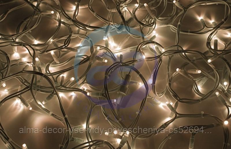 """Гирлянда модульная """"Дюраплей LED"""" 20м 200 LED белый каучук ТЕПЛЫЙ БЕЛЫЙ"""