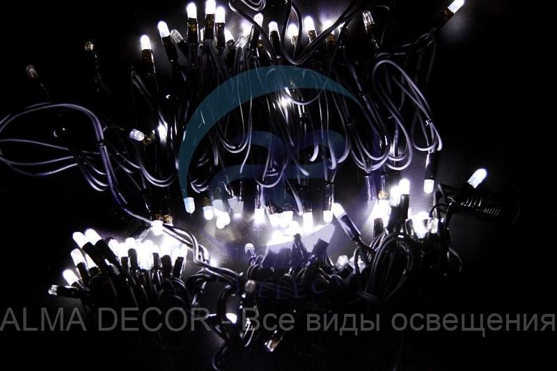 "Гирлянда модульная ""Дюраплей LED"" 20м 200 LED черный каучук , мерцающий ""Flashing"" (каждый 5-й диод), Белая"