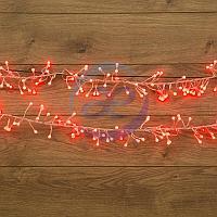 """Гирлянда """"Мишура LED"""" 3 м прозрачный ПВХ, 288 диодов, цвет красный"""