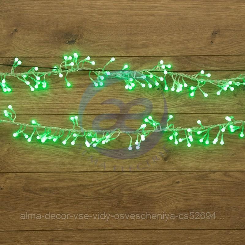 """Гирлянда """"Мишура LED"""" 6 м прозрачный ПВХ, 576 диодов, цвет зеленый"""