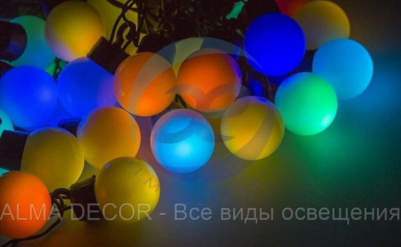 """Гирлянда """"Мультишарики"""" Ø38 мм, 10 м, черный ПВХ, 40 диодов, цвет RGB"""