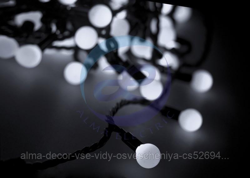 """Гирлянда """"Мультишарики"""" Ø38 мм, 10 м, черный ПВХ, 40 диодов, цвет белый"""