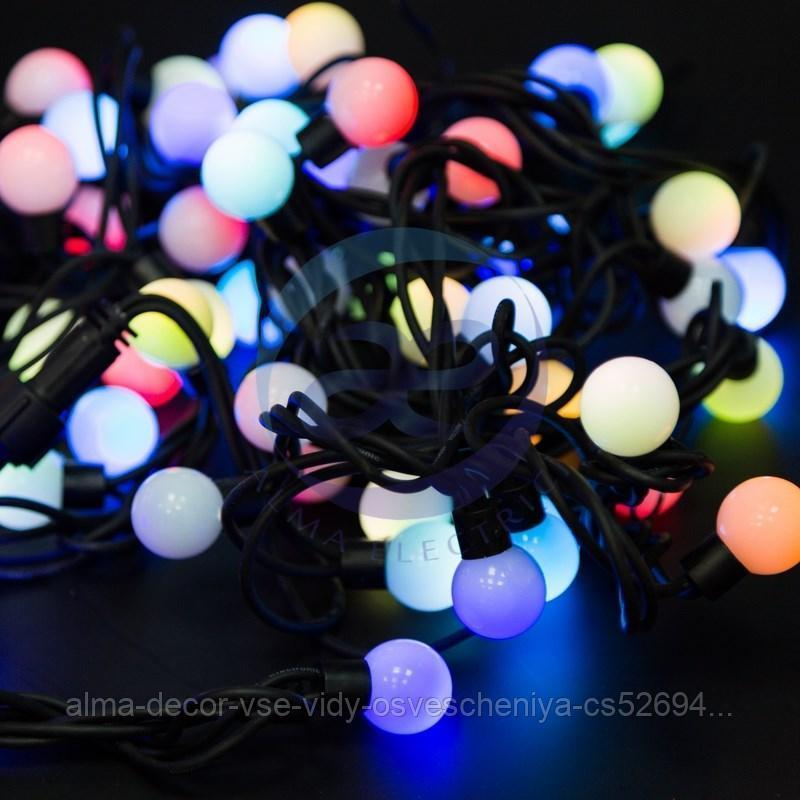 Гирлянда Мультишарики Ø23 мм, 10 м, черный каучук, 80 LED, свечение с динамикой, цвет RGB