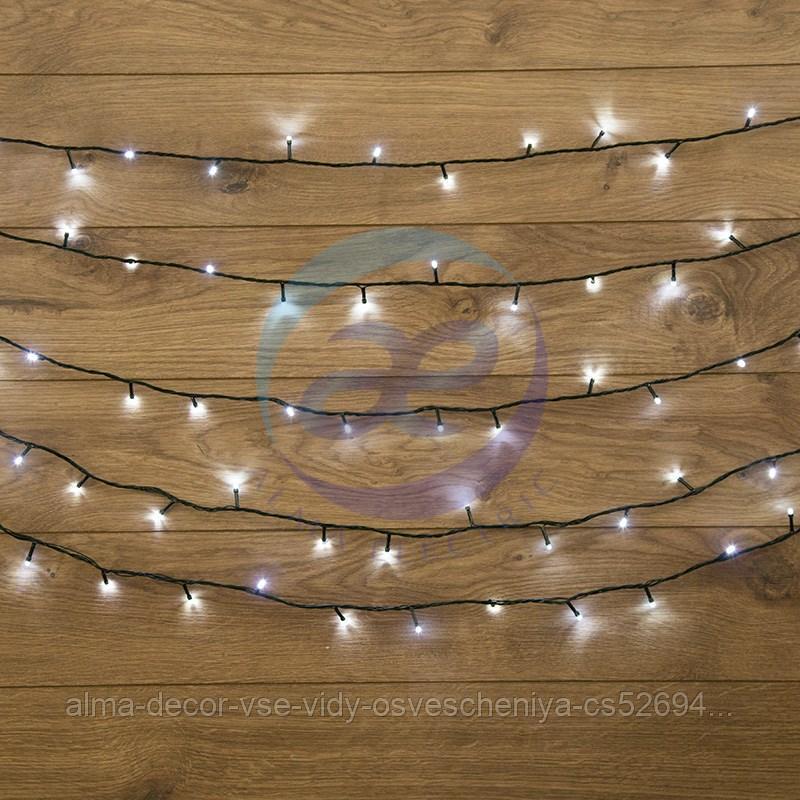"""Гирлянда """"Твинкл Лайт"""" 10 м, темно-зеленый ПВХ, 80 LED, цвет белый"""