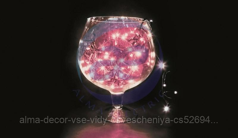 """Гирлянда """"Твинкл Лайт"""" 10 м, черный ПВХ, 100 диодов, цвет розовый"""