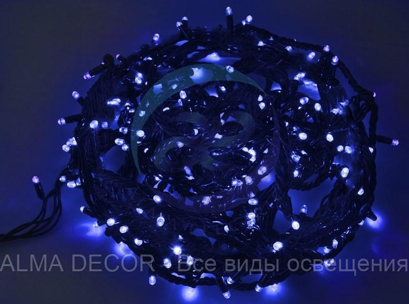 """Гирлянда """"Твинкл Лайт"""" 20 м, черный КАУЧУК, 240 диодов, цвет синий"""