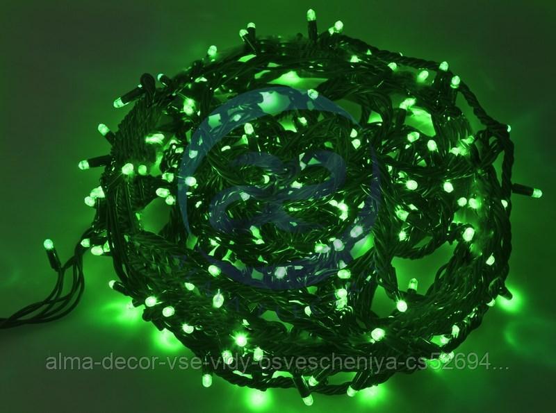"""Гирлянда """"Твинкл Лайт"""" 20 м, черный КАУЧУК, 240 диодов, цвет зеленый"""