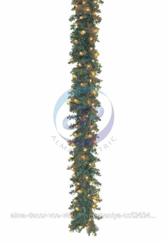 Еловый шлейф искуственный 2,7 м Теплое белое свечение 100 LED 100% мерцание
