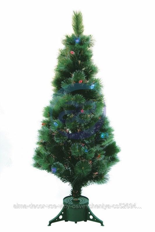 """Новогодняя Ель """"Сосна"""", фибро-оптика , фибро-оптика, 120 см, 83 ветки, с декоративными украшениями"""