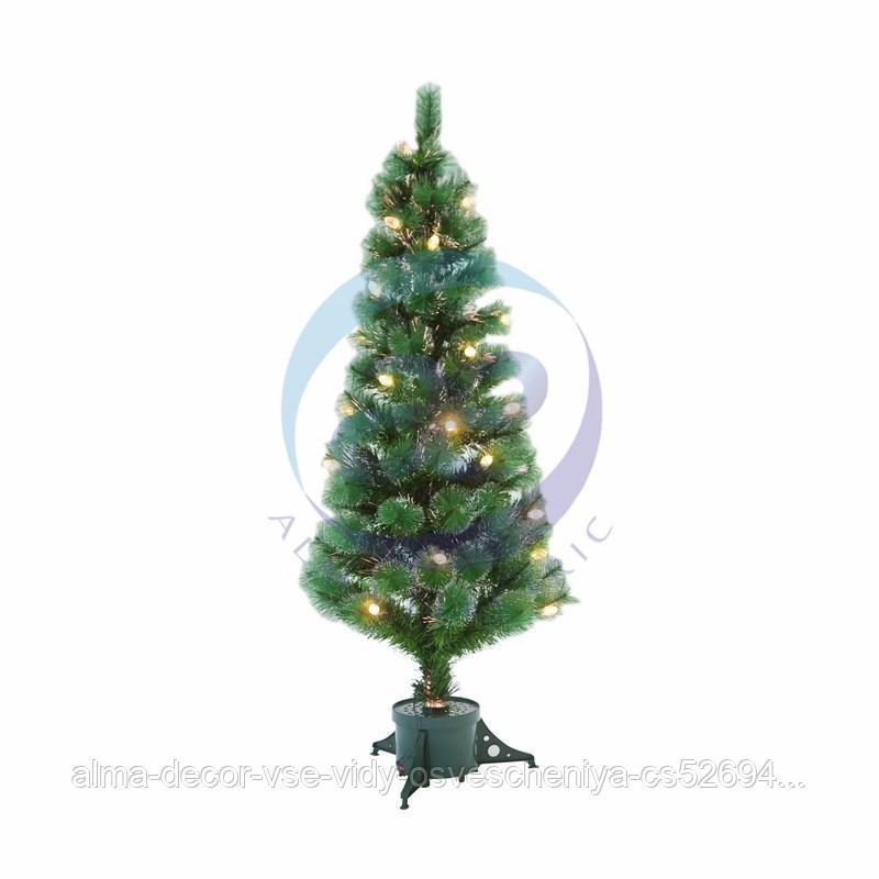Новогодняя Ель с шишками 150 см фибро-оптика ТЕПЛЫЙ БЕЛЫЙ цвет
