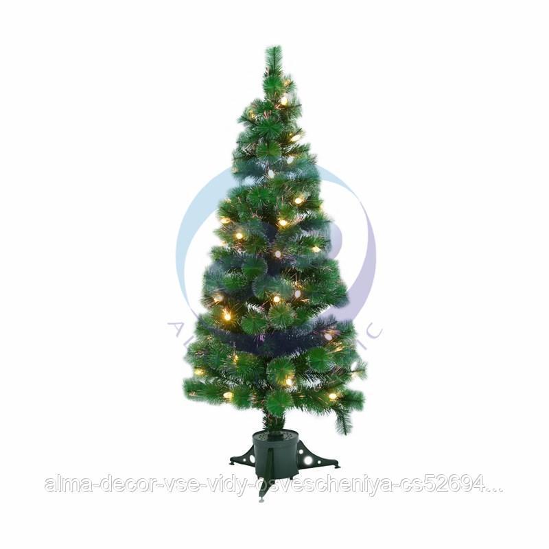 Новогодняя Ель с шишками 180 см фибро-оптика, ТЕПЛЫЙ БЕЛЫЙ цвет