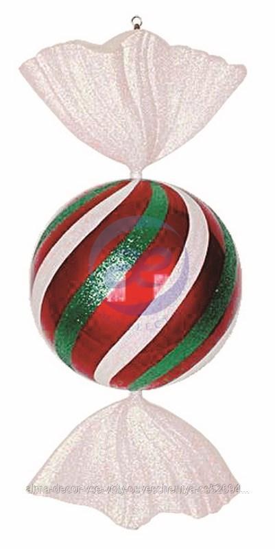 """Елочная фигура """"Конфета"""", 94 см, цвет белый, красный и зеленый"""