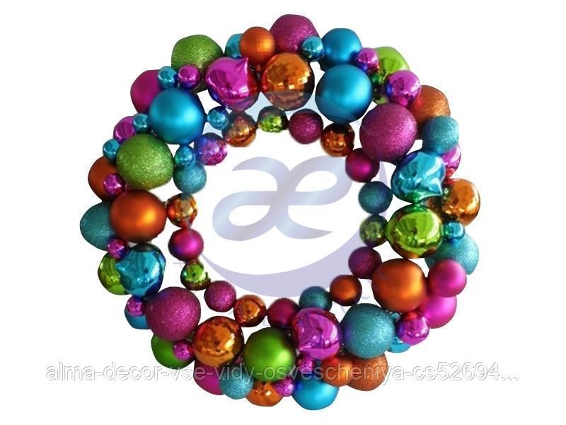 """Елочная фигура """"Венок из шариков"""" 46 см, цвет мульти"""