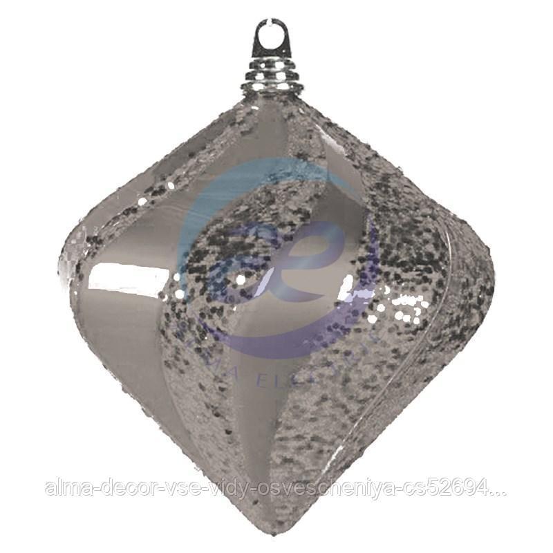 """Елочная фигура """"Алмаз"""", 25 см, цвет серебряный"""