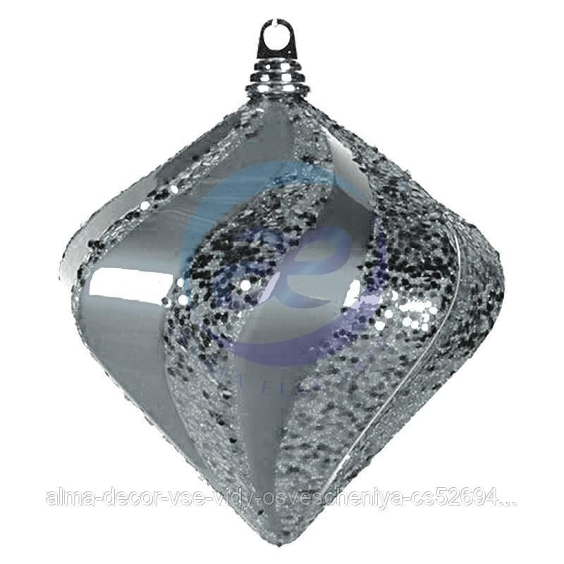 """Елочная фигура """"Алмаз"""", 20 см, цвет серебряный"""