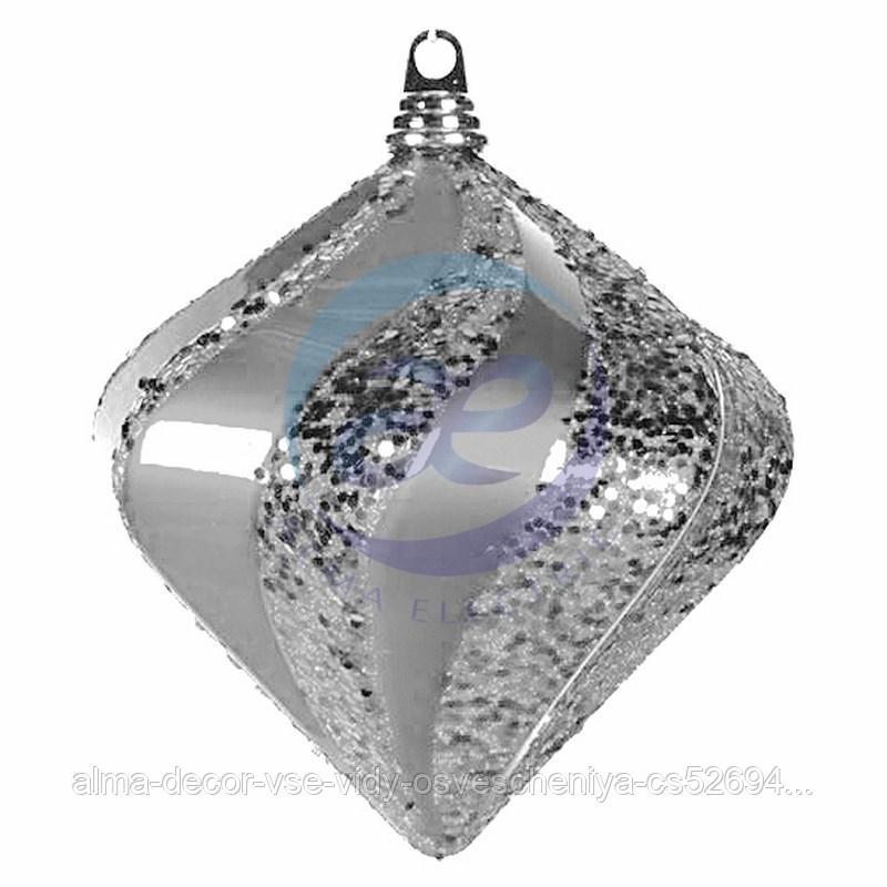 """Елочная фигура """"Алмаз"""", 15 см, цвет серебряный"""