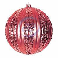 """Елочная фигура """"Полосатый шар"""", 20 см, цвет красный"""