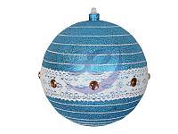 """Елочная фигура """"Шар погремушка"""" 20 см, цвет синий/серебряный"""