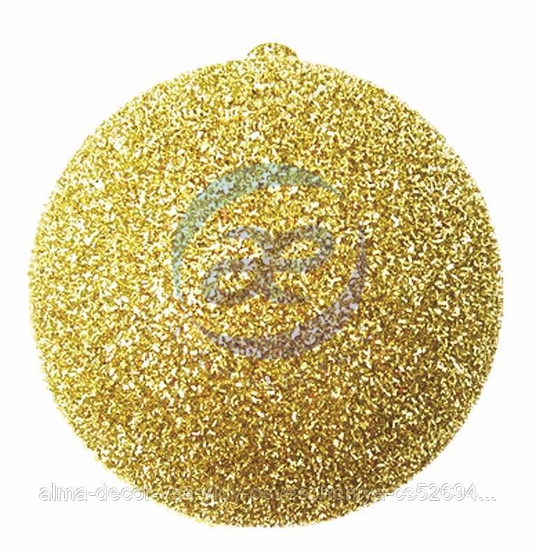 """Елочная фигура """"Шар с блестками"""", 20 см, цвет золотой"""