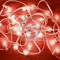 Гирлянда LED Galaxy Bulb String 10м, белый КАУЧУК, 25 ламп*6 LED КРАСНЫЕ, влагостойкая IP54