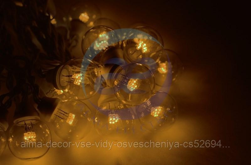 Гирлянда LED Galaxy Bulb String 10м, черный КАУЧУК, 30 ламп*6 LED ЖЕЛТЫЕ, влагостойкая IP65