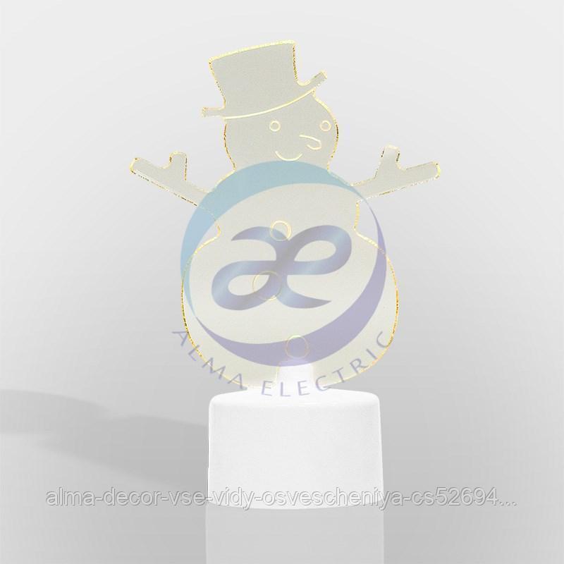 """Фигура светодиодная на подставке """"Снеговик в шляпе 2D"""", RGB"""