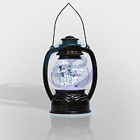 """Декоративный фонарь с эффектом снегопада и подсветкой """"Снеговики"""", Белый, фото 1"""