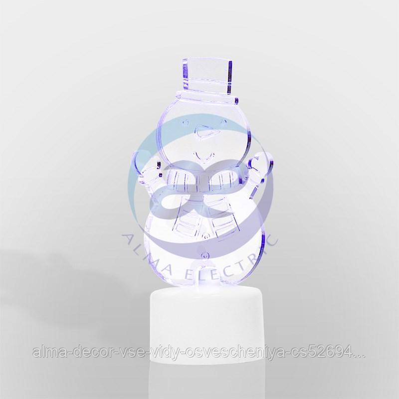 """Фигура светодиодная на подставке """"Снеговик с шарфом 2D"""", RGB"""