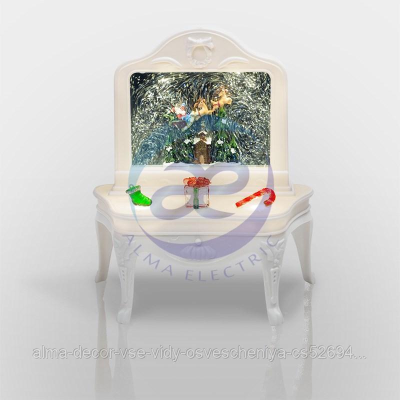 """Декоративный светильник """"Столик"""" с эффектом снегопада, подсветкой и новогодней мелодией"""