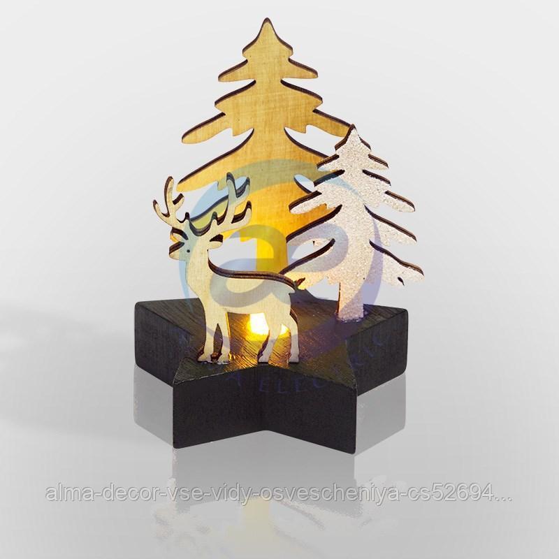 """Деревянная фигурка с подсветкой """"Олень в лесу"""" 9*8*10 см"""