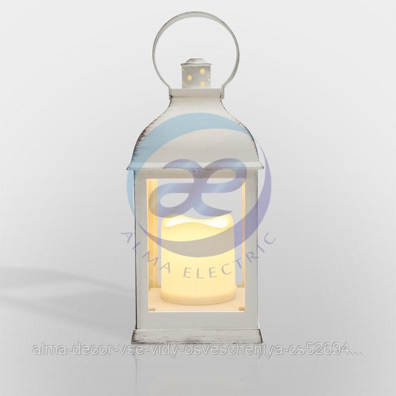 Декоративный фонарь со свечкой, белый корпус, размер 10.5х10.5х22,35 см, цвет ТЕПЛЫЙ БЕЛЫЙ