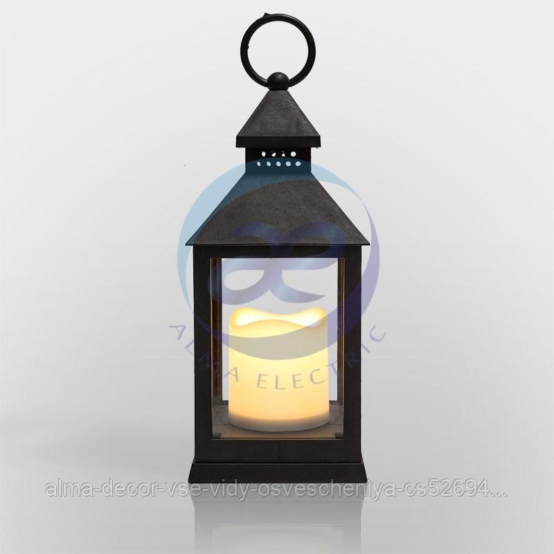 Декоративный фонарь со свечкой, черный корпус, размер 10.5х10.5х24 см, цвет ТЕПЛЫЙ БЕЛЫЙ